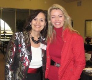 Karen Sebastian and Janet Uszynski at Orchid Christmas luncheon