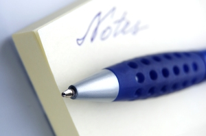 Keep a pen handy to jot down topics for your blog.